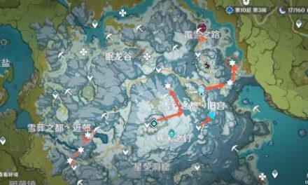 原神-龍脊雪山冰晶蝶採集線路