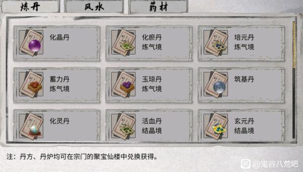 鬼谷八荒-各丹藥煉制材料整理 3